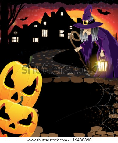 Jack O'Lanterns and witch with a lantern near the houses with glowing windows. Abstract illustration of a Halloween urban scene - stock vector
