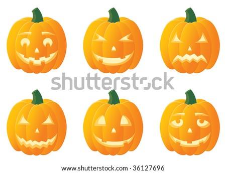 Jack O'Lanterns for Halloween, illustration - stock vector