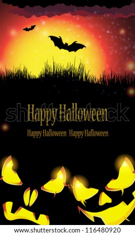 Jack O' lanterns with glowing eyes looking out of the darkness. Abstract Halloween landscape - stock vector
