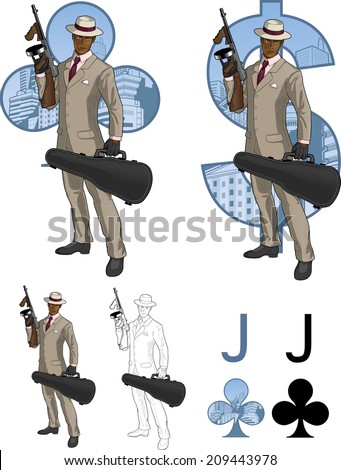 Jack of clubs afroamerican mafioso retro styled comics card character set of illustrations with black lineart - stock vector