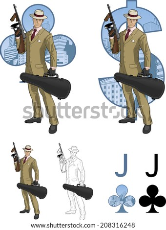 Jack of clubs Hispanic mafioso retro styled comics card character set of illustrations with black lineart - stock vector