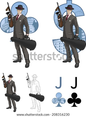 Jack of clubs mafioso retro styled comics card character set of illustrations with black lineart - stock vector