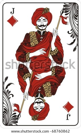Jack of diamonds from deck of playing cards, rest of deck available. - stock vector