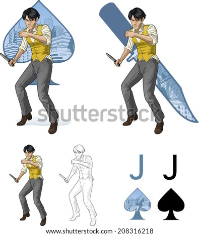 Jack of spades asian brawling man retro styled comics card character set of illustrations with black lineart - stock vector
