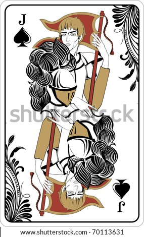 Jack of spades from deck of playing cards, rest of deck available. - stock vector