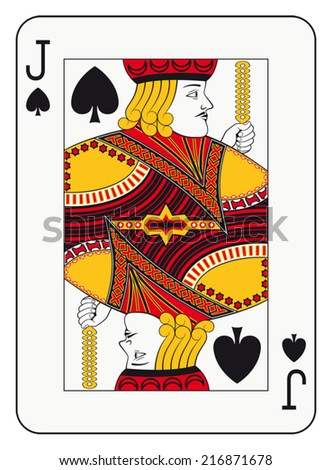 Jack of spades playing card - stock vector