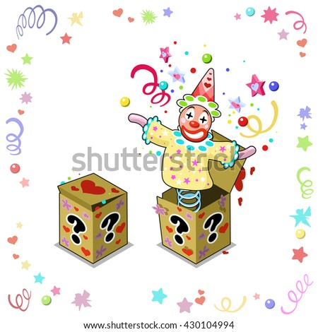 Jack out of the box in closed and opened surprise chest, jumping out with confetti, stars, bubbles and paper streamers (isolated)