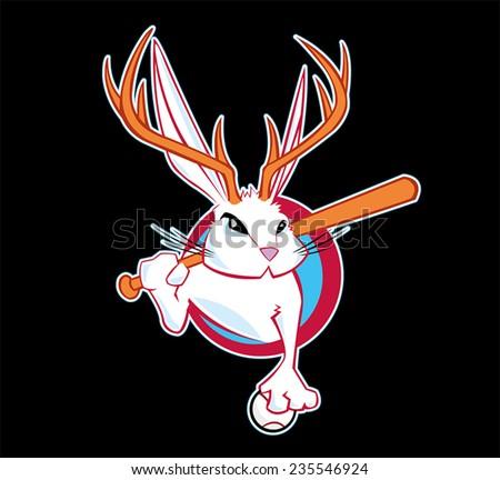 Jackalope Sports Fantasy League Logo - stock vector