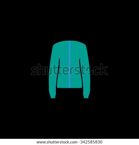 Jacket. Color vector icon on black background - stock vector