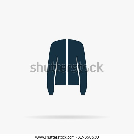 Jacket. Flat vector web icon or sign on grey background with shadow. Collection modern trend concept design style illustration symbol - stock vector