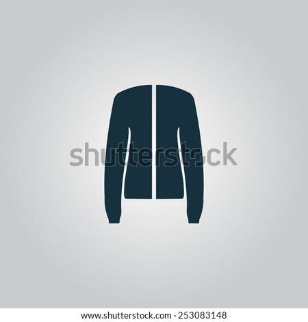 Jacket. Flat web icon, sign or button isolated on grey background. Collection modern trend concept design style vector illustration symbol - stock vector