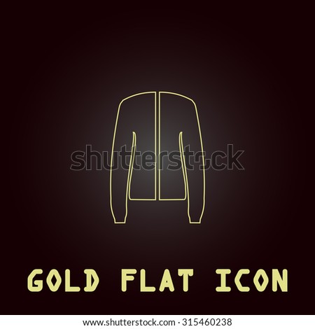 Jacket. Outline gold flat pictogram on dark background with simple text.Vector Illustration trend icon - stock vector