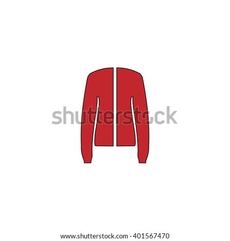 Jacket. Red flat simple modern illustration icon with stroke. Collection concept vector pictogram for infographic project and logo - stock vector