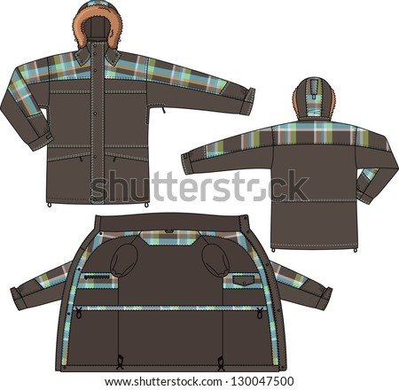 Jacket winter with a hood and from checkered fabric - stock vector
