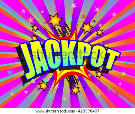 Jackpot word and stars on colorful exploding background