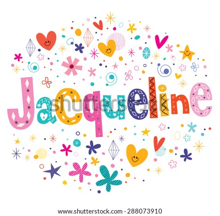 Jacqueline girls name decorative lettering type design - stock vector