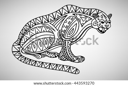 Jaguar. Hand-drawn with ethnic pattern. Coloring page - isolated on a white background. Zendoodle patterns. Vector illustration.
