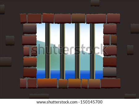 Jail Bars - Barred window of a jail, viewed from inside to outside. Isolated vector. - stock vector