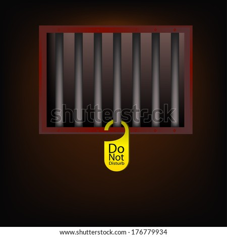 jail cell with Do not disturb  label - stock vector