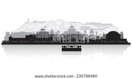 Jaipur India city skyline vector silhouette illustration - stock vector