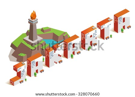 Jakarta city isometric text flat vector - stock vector