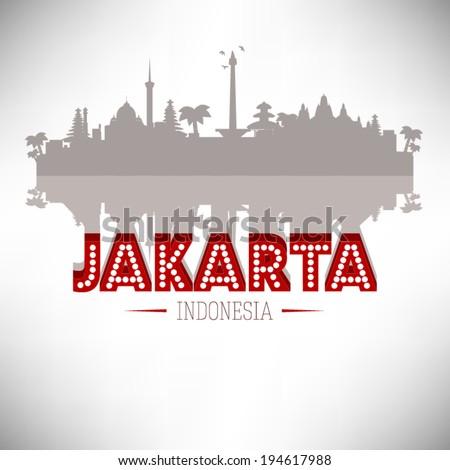 Jakarta Indonesia skyline silhouette design, vector illustration. - stock vector