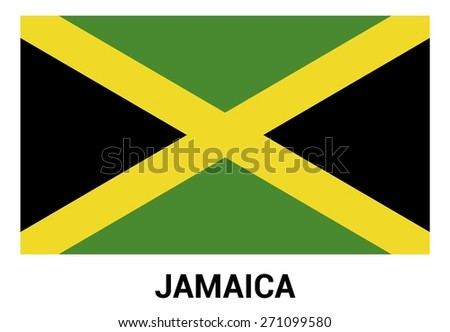 Jamaica Flag isolated vector in official colors and Proportion Correctly - stock vector