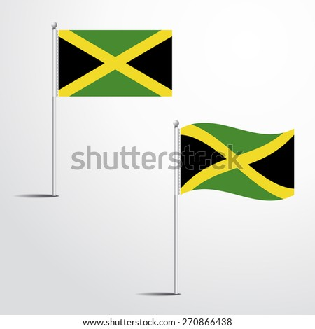 JAMAICA flag normal and waving flag set | abstract flag vector eps 10 - stock vector