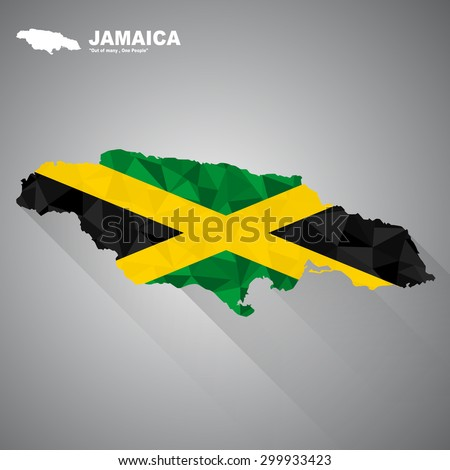 Jamaica flag overlay on Jamaica map with polygonal and long tail shadow style (EPS10 art vector)