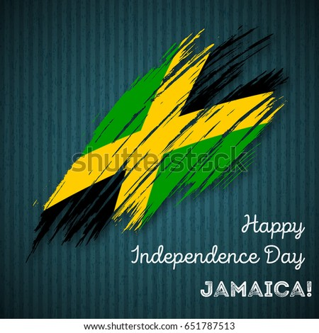 Jamaica Independence Day Patriotic Design Expressive Stock Vector - Jamaica independence day