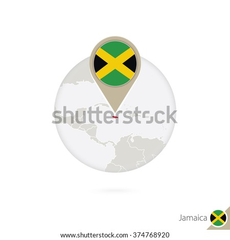 Jamaica map and flag in circle. Map of Jamaica, Jamaica flag pin. Map of Jamaica in the style of the globe. Vector Illustration. - stock vector