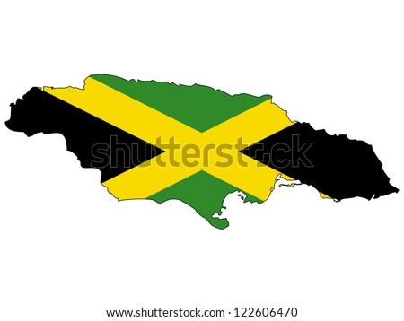 Jamaica vector map with the flag inside.