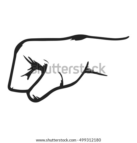 Jammed fist, strong hand vector illustration hand drawn