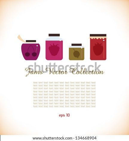 Jams vector collection. Strawberry jam. Red raspberry jam. Cherry jam. Set of different confitures. Isolated pots of jam. Jam jar - stock vector