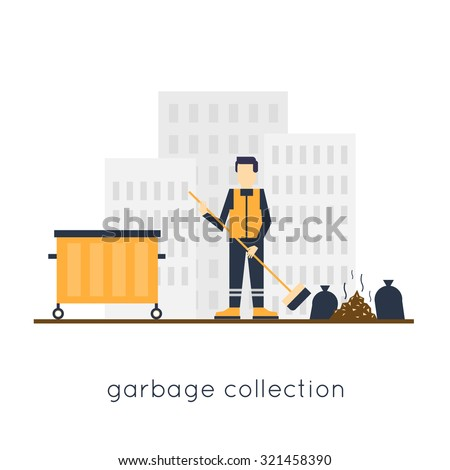 Janitor clean the streets, garbage from the city. Flat design.