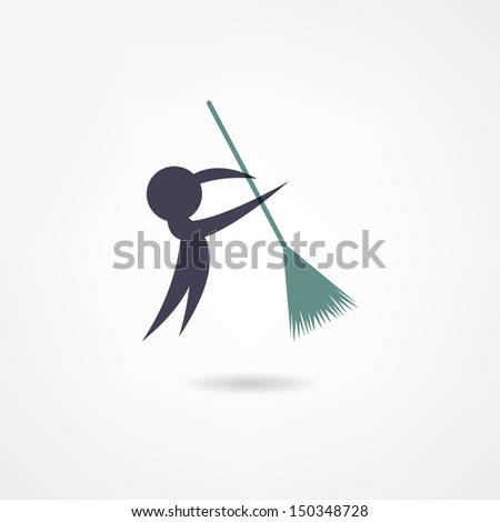 janitor icon - stock vector