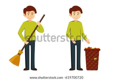 janitor young man in working clothes with a broom in his hands.eco concept. the character shows a container with debris, leaves, vector illustration in flat style on white background