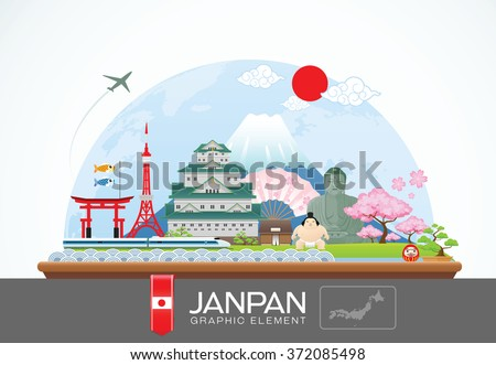 janpan infographic travel place and landmark vector Illustration - stock vector