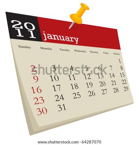 January 2011 - stock vector