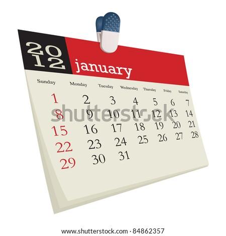 january 2012 - stock vector