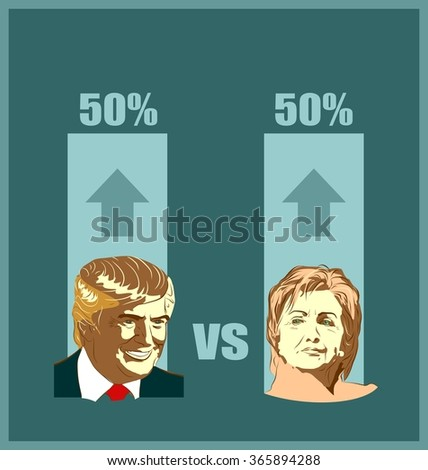 January 1, 2016: A vector illustration of a portrait of Presidential Candidates Donald Trump and Hillary Clinton for show result of elections - stock vector