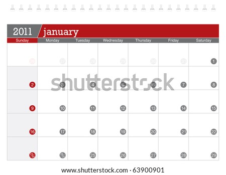 January 2011 Calendar - stock vector
