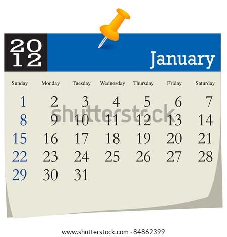 January 2012 Calendar - stock vector