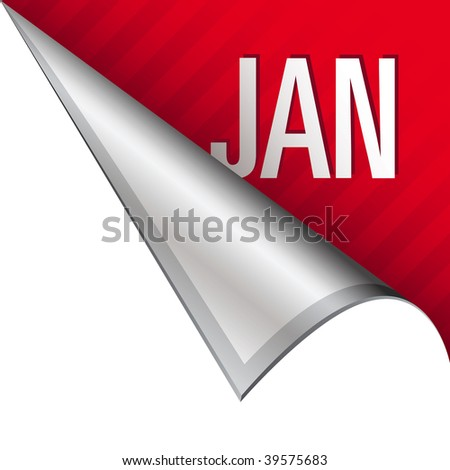 January calendar month icon on vector peeled corner tab suitable for use in print, on websites, or in advertising materials.