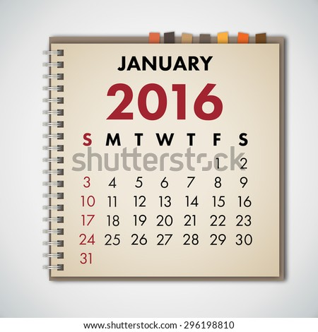January 2016 Calendar Notebook Vector  - stock vector