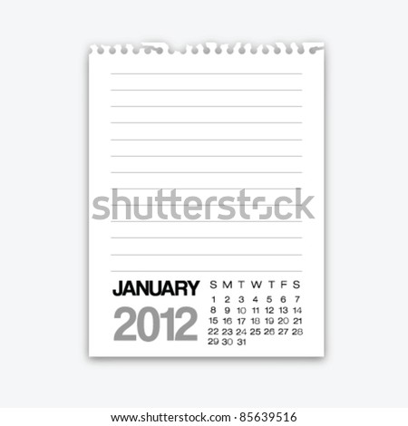January calendar 2012 on note paper - stock vector