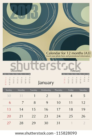 January. 2013 Calendar. Optima fonts used. A3 - stock vector