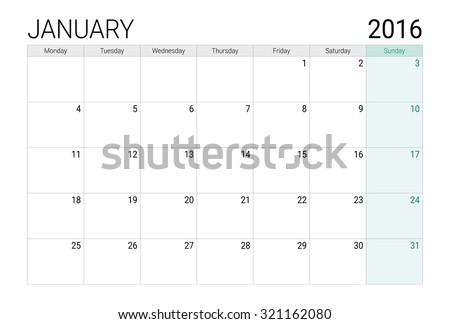January 2016 calendar (or desk planner) - stock vector