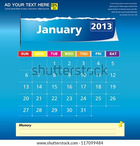 January 2013 calendar vector illustration - stock vector