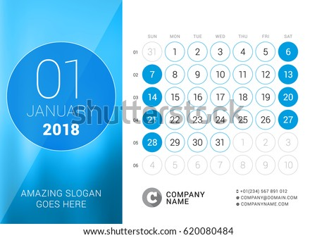 January 2018. Desk Calendar for 2018 Year. Vector Design Print Template. Week Starts on Sunday. Calendar Grid with Week Numbers
